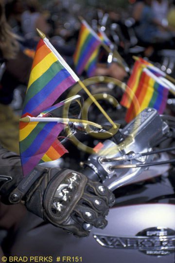 Picture Dykes On Bikes Rainbow Flag At Gay Pride Parade