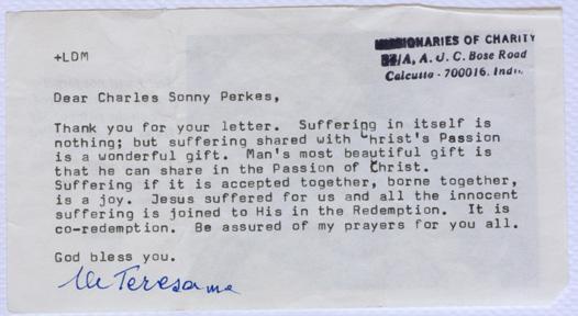 MotherTeresa's last letter: